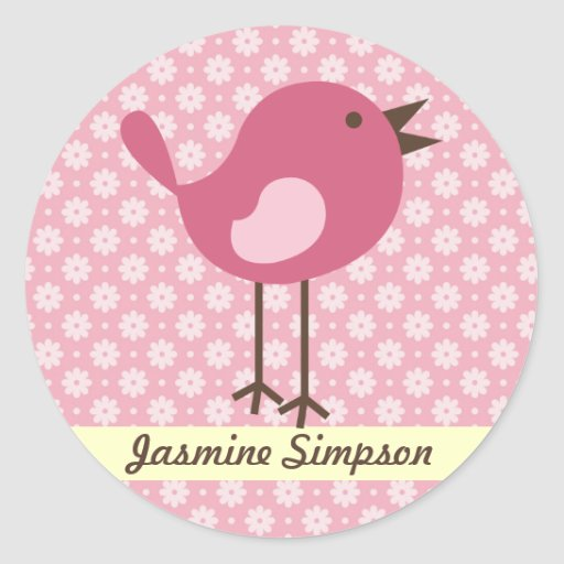 Name Labels/Stickers Pink Bird - Daisy Design