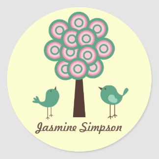 Name Labels/Stickers Two Green Birds Round Sticker