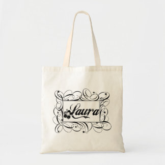 Name Laura in black inside stylish frame Tote Bag