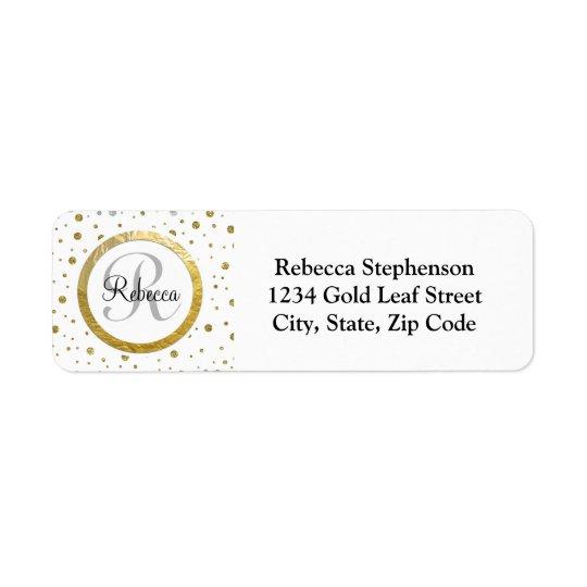 Name Letter Gold Confetti Monogram Return Address Label