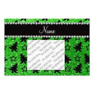 Name lime green glitter christmas trees stars photographic print
