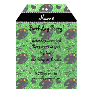 name lime green glitter painter palette brushes 13 cm x 18 cm invitation card