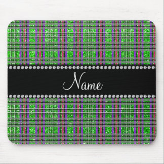 Name lime green glitter pink purple plaid mouse pad