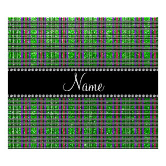 Name lime green glitter pink purple plaid poster