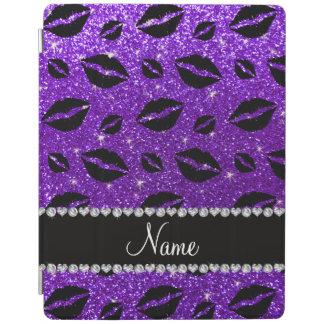 Name lipstick kisses indigo purple glitter iPad cover