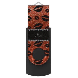 Name lipstick kisses neon orange glitter swivel USB 2.0 flash drive