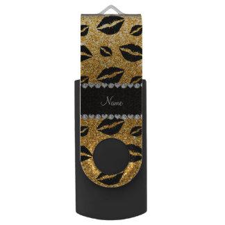 Name lipstick kisses yellow glitter swivel USB 2.0 flash drive