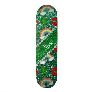 Name mint green glitter shamrocks rainbows kisses skate board deck