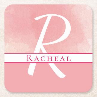 Name Monogram Pink Watercolor Paper Coaster