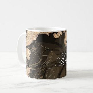Name Monogram w/ Poppies & Leaves #1 Coffee Mug
