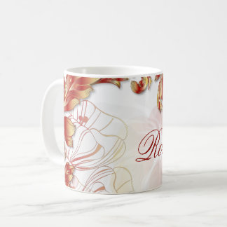 Name Monogram w/ Poppies & Leaves #2 Coffee Mug