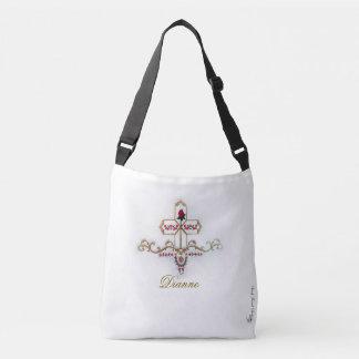 Name Monogrammed Cross & Red Rose Crossbody Bag