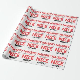 Name...Naughty Or Nice Christmas Wrapping Paper