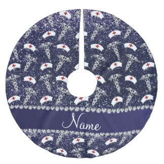 Name navy blue glitter nurse hats silver caduceus brushed polyester tree skirt