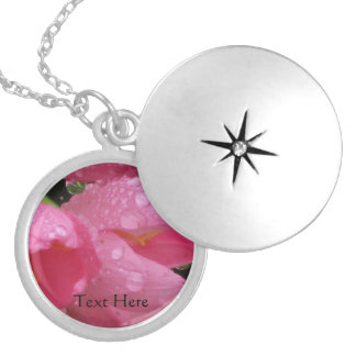 Name Necklace - Pink Flower with Morning Dew