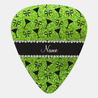 name neon green glitter cocktail glass bow pick