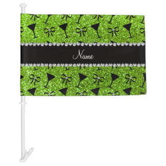 Name neon green glitter cocktail glass bow car flag