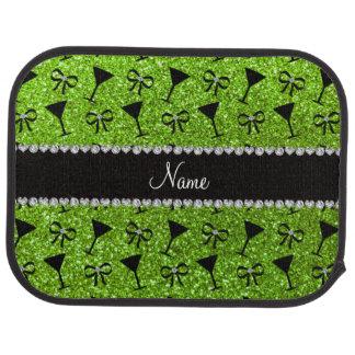 name neon green glitter cocktail glass bow floor mat