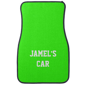Name Neon Green Top Single Color Car Mat