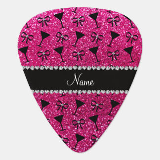 name neon hot pink glitter cocktail glass bow pick