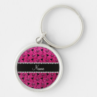 name neon hot pink glitter cocktail glass bow keychains