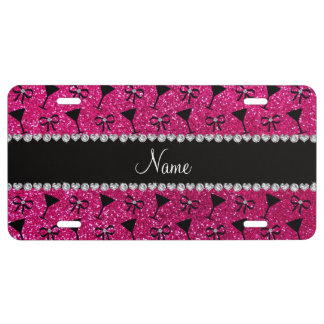 name neon hot pink glitter cocktail glass bow license plate