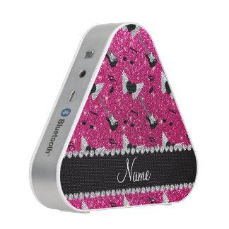 Name neon hot pink glitter guitars heart wings speaker