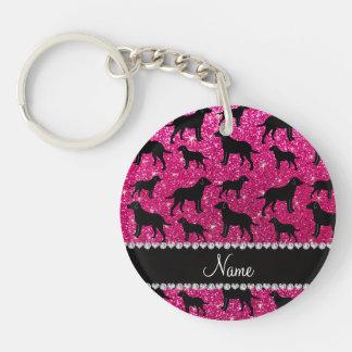 Name neon hot pink glitter labrador retrievers keychain
