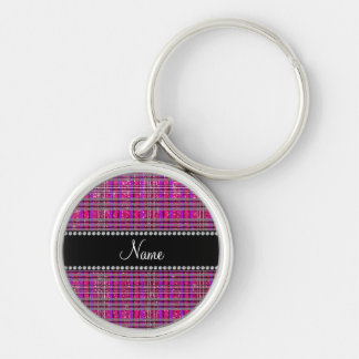 Name neon hot pink glitter pink purple plaid keychain