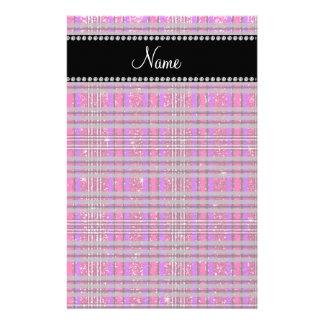 Name neon hot pink glitter pink purple plaid stationery