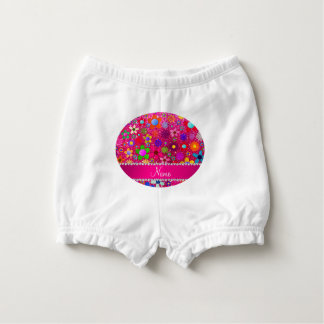 name neon hot pink glitter retro flowers nappy cover