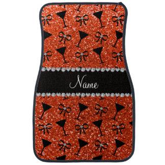 Name neon orange glitter cocktail glass bow floor mat