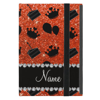 Name neon orange glitter crowns balloons cake iPad mini case