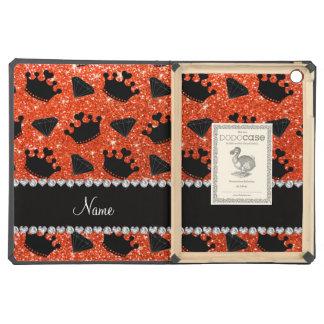 Name neon orange glitter princess crowns diamonds iPad air cases
