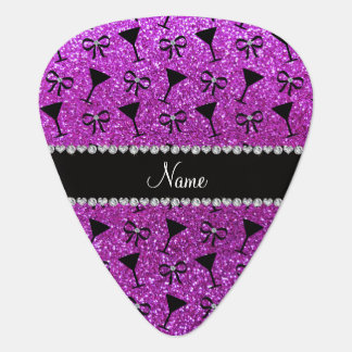 Name neon purple glitter cocktail glass bow pick