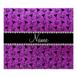 name neon purple glitter cocktail glass bow poster