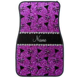 Name neon purple glitter cocktail glass bow car mat