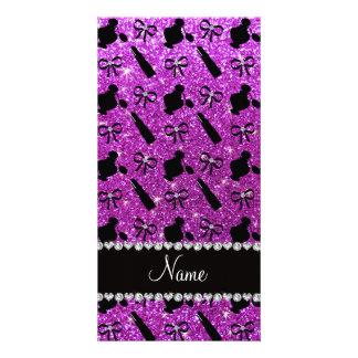 name neon purple glitter perfume lipstick bows photo cards