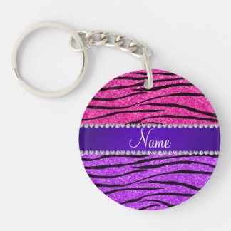 Name neon purple hot pink glitter zebra stripes Double-Sided round acrylic key ring