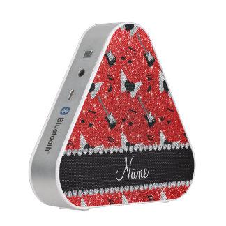 Name neon red glitter guitars heart wings music no bluetooth speaker