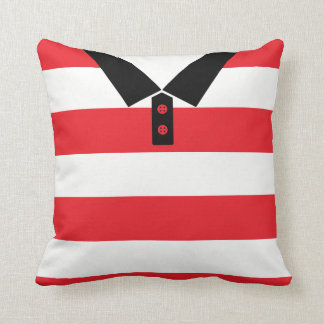 Name & Number Red Stripes Rugby Soccer Pillow