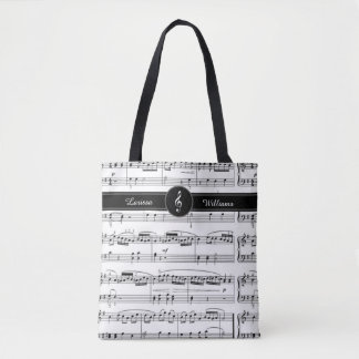 name on black and white musical notes tote bag