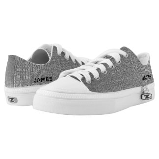 Name On Shiny Silver Metal Texture Print Low Tops