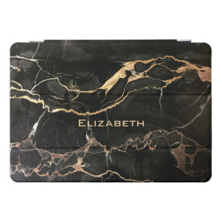 Name or Monogram Black Marble iPad Pro Cover
