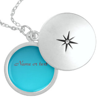 Name Or Text On Turquoise Round Locket Necklace