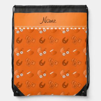 Name orange baby bib blocks carriage booties backpack
