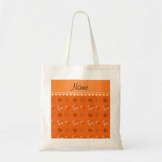 Name orange baby bib blocks carriage booties budget tote bag