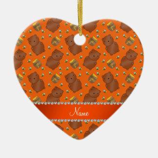 Name orange bears honeypots bees pattern ceramic heart ornament