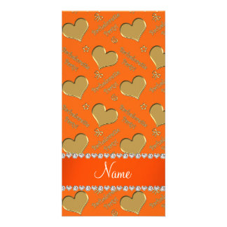 Name orange gold hearts bachelorette party photo greeting card