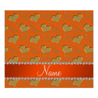 Name orange gold hearts bachelorette party poster